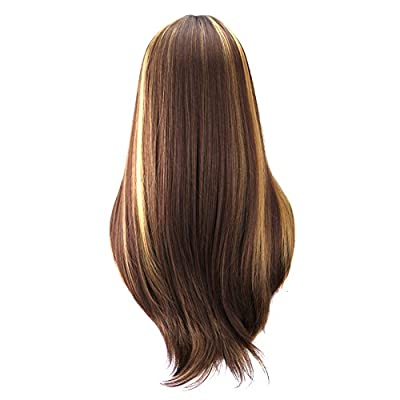 Kalyss Yaki Synthetic Women's Wig With Hair Bangs Centre Parting Long Straight Heat Resistant Synthetic Hair wig for Women
