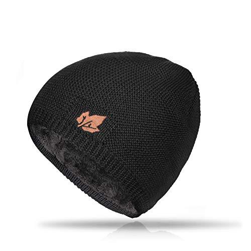 TRENDOUX Toboggan Hat, Winter Knit Hats Warm Lining Men Women - Acrylic Unisex Plain Skull Cap - Baggy Slouchy Beanie - Black