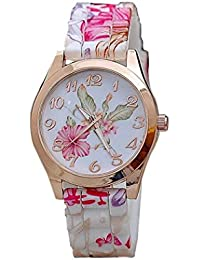 Womens Flower Watches,COOKI Unique Analog Fashion Clearance Lady Watches Female watches on Sale Casual Wrist Watches for Women,Round Dial Case Comfortable Silicone Watch-H17 (Pink)