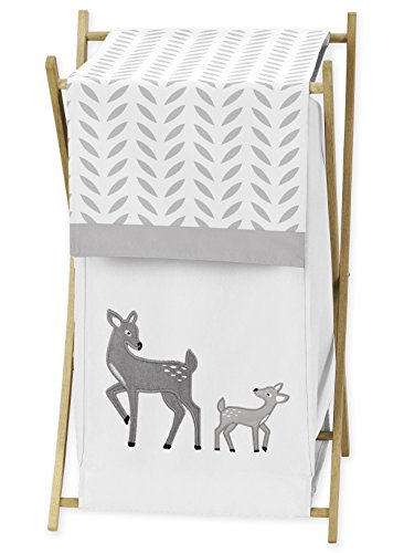 Sweet Jojo Designs Baby Kids Clothes Laundry Hamper for Grey Gold and White Forest Deer and Dandelion Collection Girl or Boy Bedding Set