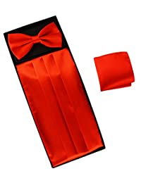 Simpowe Men's Solid Color Matching Pocket Square Bow Tie and cummerbund Set (Bright Red)