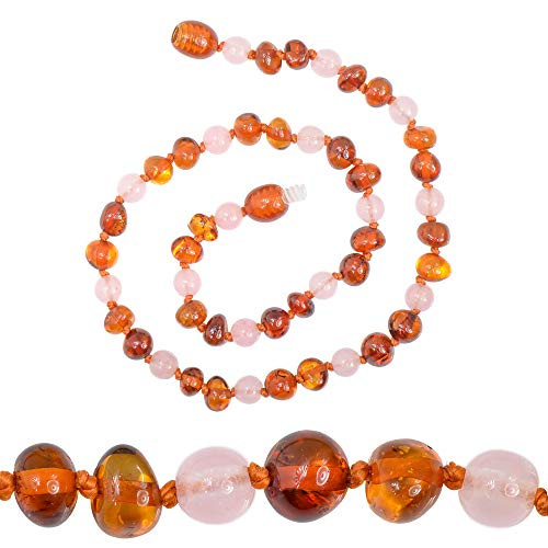 Genuine Amber - Baby Unisex Teething Necklace - 100% Natural Baltic Amber Polished Amber Beads - Natural Analgesic - Knotted Between Beads - With Plastic Screw Clasp (12.6 inches, Pink - Cognac)