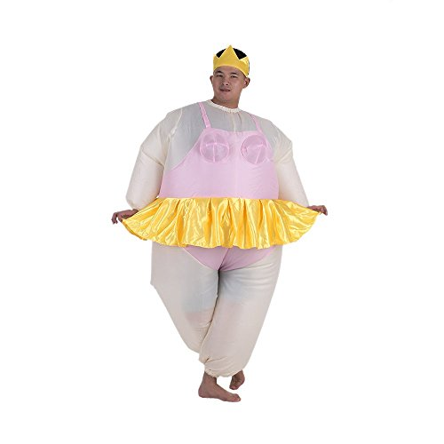 Anself Ballerina Inflatable Costume Fat Suit Blow Up Halloween Party Fancy Jumpsuit -