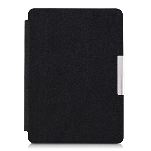 kwmobile Case for Amazon Kindle Paperwhite - Book Style Felt Fabric Protective e-Reader Cover Folio Case - black by kwmobile (Image #2)