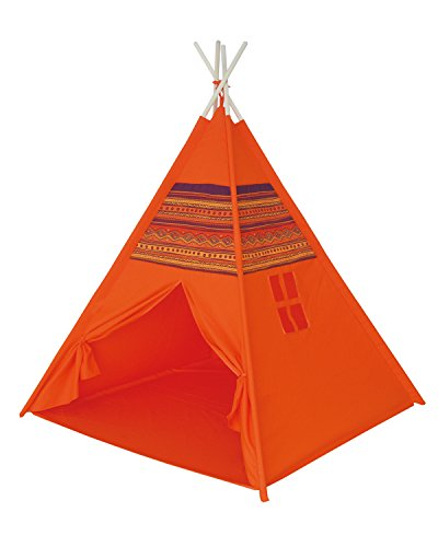(POCO DIVO Red Dirt Teepee Pyramid Tent Canvas Finish Playhouse Kids Indoor Toy House Outdoor Play Tent with Wooden Poles)