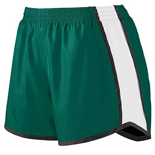 Augusta Sportswear Augusta Girls Pulse Team Short, Dark Green/White/Black, Medium