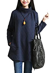 Minibee Women\'s Plaid Turtle Neck Top Dress with Pockets (L, Style 2 Blue)