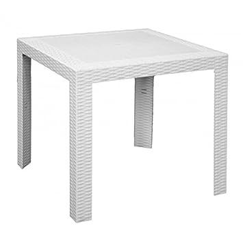 Mesa Mesa 80 x 80 cm blanco de resina para exterior Bar Muebles ...