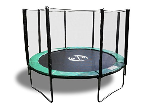 12' Galactic Xtreme Round Exercise Trampoline - Safe & Strong - 2.0 mm Steel Frame With Spring Pad, Safety Net Enclosure, Galvanized Steel Ladder & Non-Abrasive Permatron Jumping Mat - 400lbs Wt Cap by HappyTrampoline