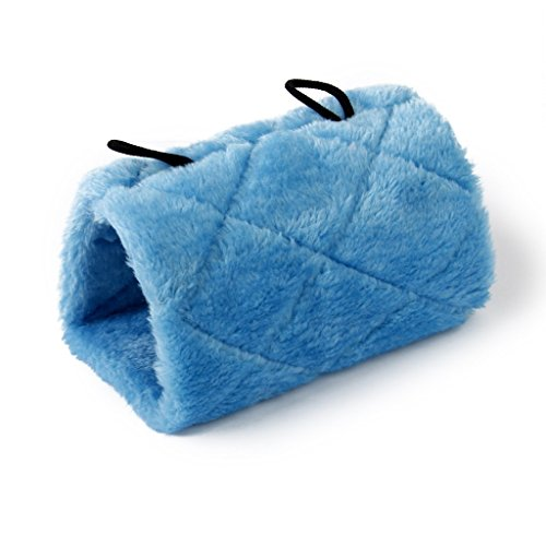 Blabroge Plush Parrot Perch Tent Hammock Cave Cage Warm Hanging Bed ( Blue /L) by Blabroge
