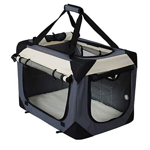 EUGAD Transportin para Perros Plegable Bolsa de Transporte Gatos Mascotas para Coche Viaje Avion Portador Tela Oxford, M/60x42x42 cm Gris 0141HT