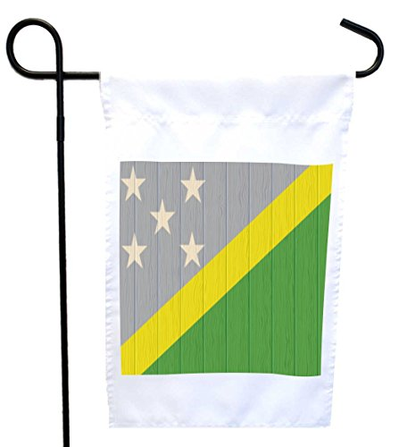 Rikki Knight Solomon Islands Flag on Distressed Wood House or Garden Flag with 11 x 11-Inch Image, 12 x 18-Inch Solomon Islands Flag