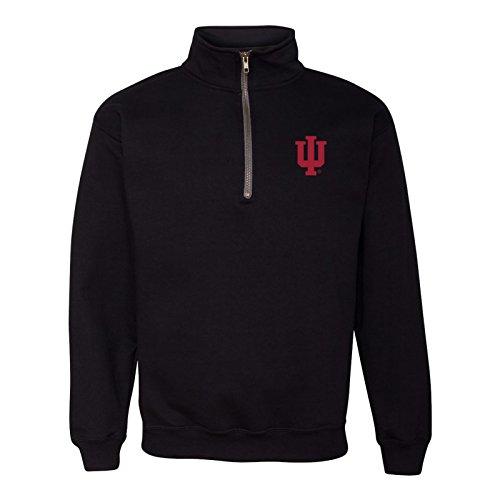 UGP Campus Apparel AQ07 - Indiana Hoosiers Primary Logo Left Chest (1/4) Quarter Zip Sweatshirt - X-Large - Black