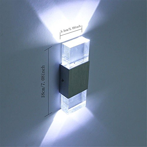 Netboat Modern 2W LED Up Down Wall Sconce Lighting Spotlight Aluminum Fixture Decorative Lights Lamp for Theater Studio Store Home Shop Hall Porch Bedroom Bathroom (Cool White)