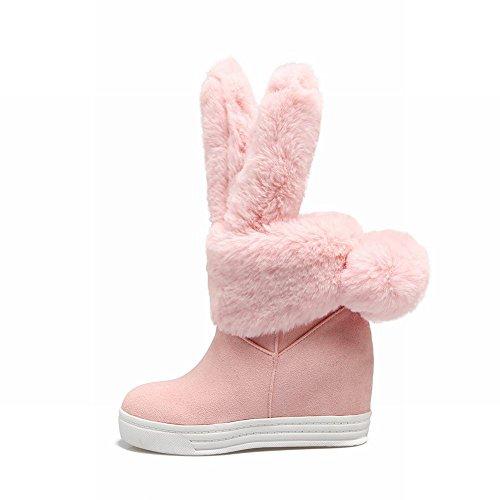 Fascino Del Piede Delle Donne Dolce Pompon Tallone Nascosta Piattaforma Tacco Alto Stivali Da Neve Rosa