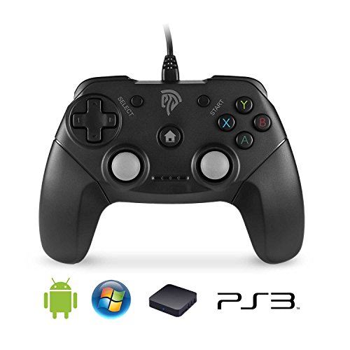 EasySMX EG-C3071 Wired USB Game Controller Joystick with Dual-Vibration Feedback for PC/PS3/TV Box/Android Phones (Black)