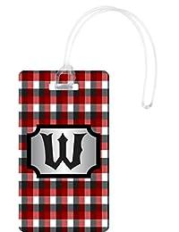 Rikki Knight W Initial Burgundy Plaid Monogrammed Flexi Luggage Tags, White