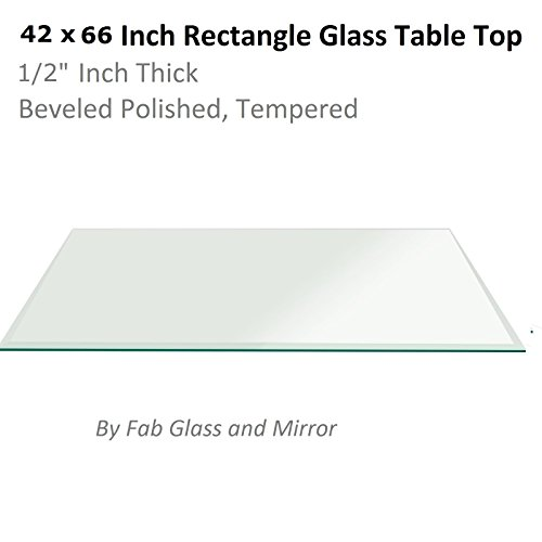 Fab Glass and Mirror Rectangle Glass 1/2'' Thick, Beveled Tempered Radius Corners, 42'' L x 66'' W by Fab Glass and Mirror