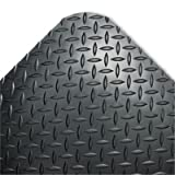 CROWN MATS amp; MATTING CD0023DB Industrial Deck Plate Anti-Fatigue Mat, Vinyl, 24 x 36, Black