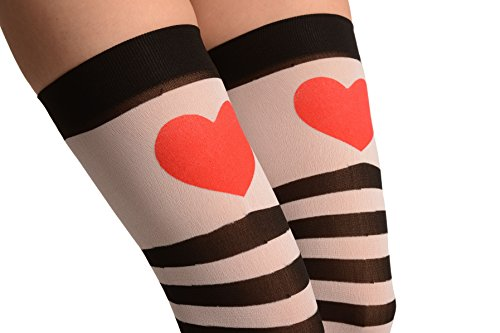 Black & White Stripes With Printed Red Heart - Hold Ups - Blanco Medias autoadhesivas Talla unica (34-40)