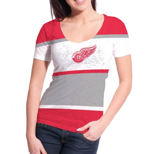Detroit Red Wings Women's Four Stripe FX Burnout T-Shirt (XL)
