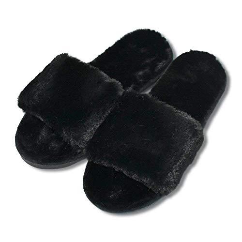 COFACE Womens House Slippers Winter Warm Faux Fur Flip Flop Soft Slide Flat Slip-on Shoes (4.5-5 B(M) US, Black)