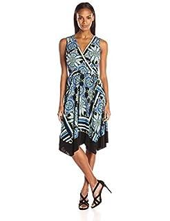 Sandra Darren Womens Sleeveless Slit-Neck Fit-and-Flare Dress