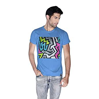 Creo Abstract 01 Retro Printed T-Shirt For Men - L, Blue