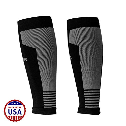 MudGear Compression Calf Sleeves - Graduated Performance for Running, Sports Recovery, Shin and Leg Muscle Support - 1 Pair (Small/Med, Black/Gray)