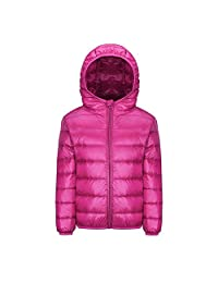 FREE FISHER Kids Puffer Down Jacket Packable Hooded Bubble Coat Boys Girls