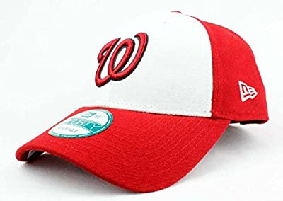 Washington Nationals Hat MLB Authentic New Era The League 9FORTY Velcroback Cap White Red Baseball Adult One Size Unisex Men & Women 100% Polyester
