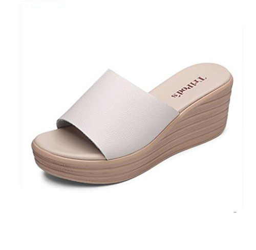 Slipper white slope with slippers female summer fashion wild sandals thick bottom word leisure high heel sandals Flat Sandals,Fashion sandals (Color : A, Size : 35) C