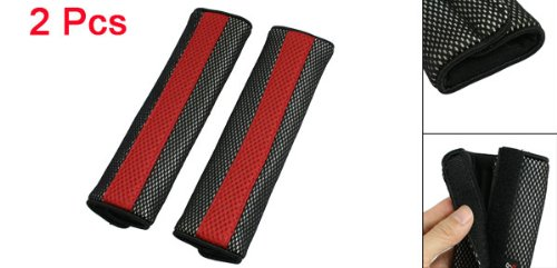 (Ocamo 2Pcs Seatbelt Cover Pad Motor Detachable Fastener Red and Black Car Seat Belt Cover )