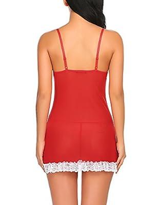 ADOME Women Babydoll Halter Lingerie Red Christmas Chemises Set