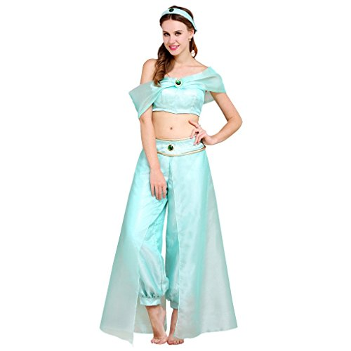 CosplayDiy Women's Halloween Princess Cosplay Dress Adult Light Blue XXXL (Princess Jasmine Costume Adults Plus Size)