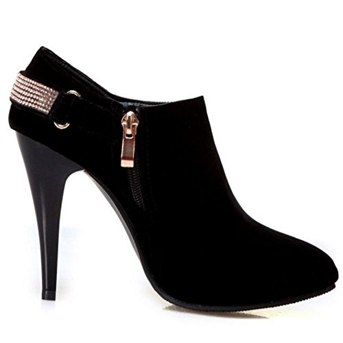 Thin TAOFFEN High Stylish High Heel Pointed Booties Black Winter Ankle Women Toe qIfITw