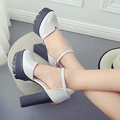 LvYuan-ggx Damen High Heels Komfort PU Sommer Lässig Blockabsatz Schwarz 5 Grau Rot 2 5 Schwarz - 4 5 cm d32610