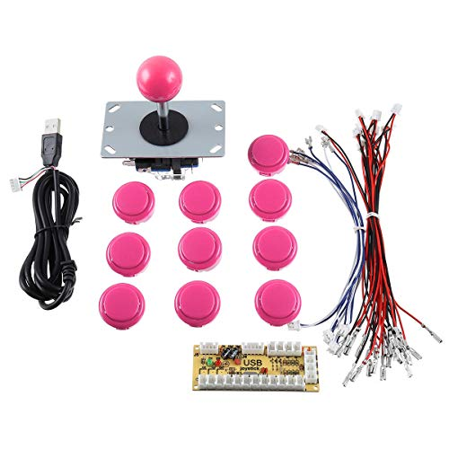 Diy Game Controller - Arcade Game Controller Kit - Single Player Joystick Push Button Encoder Arcade Game Controller Kit - Pink (Game Controller Repair Kit)