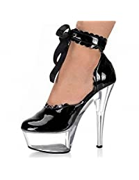Women's Round Toe Platform High Heel Pumps Ankle Strap Stiletto Heel ,Sexy ankle straps,performance stage dress shoes,D-045