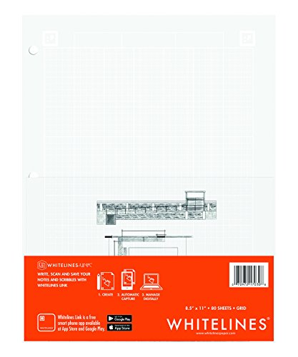 Case of 24 Whitelines App Engineering Computational Pads, 8.5''x11'', Grey Grid White Paper, 80 sheets, 3 Hole punch, Enclosed Grid printing by WhiteLines (Image #1)