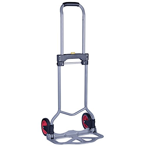 Portable Aluminum 2 Wheel Folding Hand Truck/Dolly Coocheer Heavy Duty Luggage Rolling Cart Personal, 150 lbs Capacity