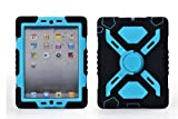 Authentic SpiderMan Survivor Extreme Army Military Heavy Duty Cover Case With Stand Wall/glass/wood attachable for New Apple iPad Mini Kids Children Gift @XYG (4.Black/blue)