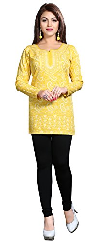 Indian Kurti Top Tunic Printed Womens Blouse India Clothes (Yellow, L)