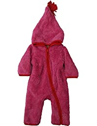 f2897838d Infant Girls Plush Hot Pink Red Accent Fuzzy Pram Suit Hooded Baby Bunting
