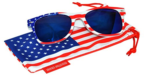 Classic American Patriot Flag Sunglasses USA Blue Mirror Lens White American Flag Frame - Sunglasses Flag