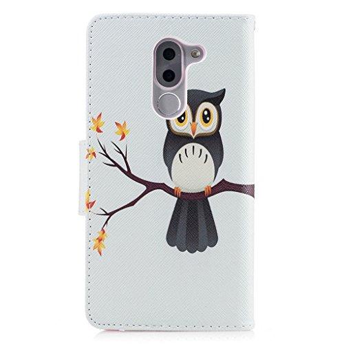 Trumpshop Smartphone Carcasa Funda Protección para Huawei Honor 6X + Lirio + PU Cuero Caja Protector Billetera con Cierre magnético [No compatible con Honor 6A y 6C] Linda Búho