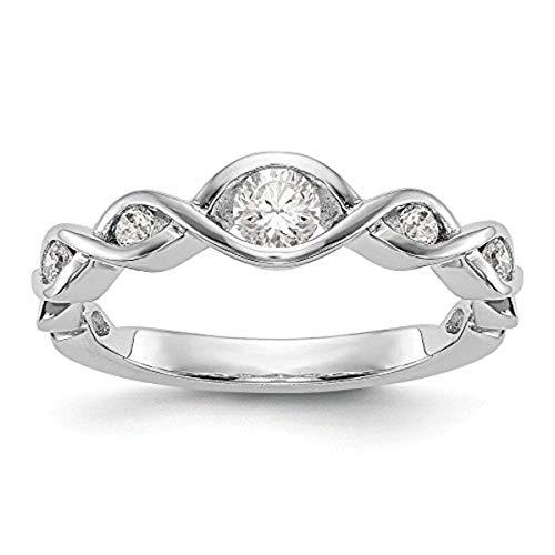 KIOKORI 14K White Gold Ladies 5-Stone Diamond Channel Set Twist Band 1/3-Carat tw ~ Ring Size 6 ~ by Roy Rose ()