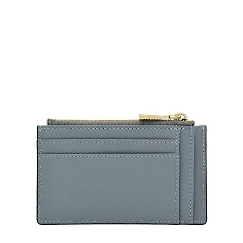 Zipper Leather Holder with Card Gray Case Cow for Slim Men YwI5HxUc