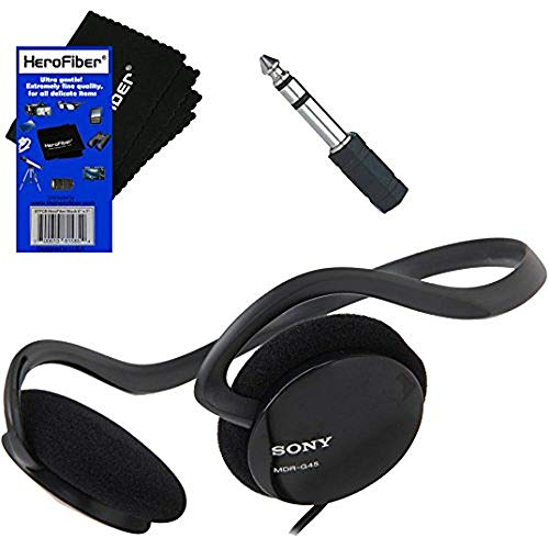 """Sony Behind-The-Neck Stereo Headphones with Powerful Bass + Mini Plug to 1/4"""" inch Headphone Adapter & HeroFiber Ultra Gentle Cleaning Cloth for Sony Headphones"""