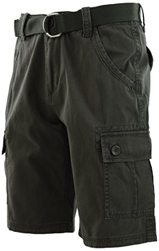 - ChoiceApparel Mens Cargo Shorts with Belt (36, 772-Olive)